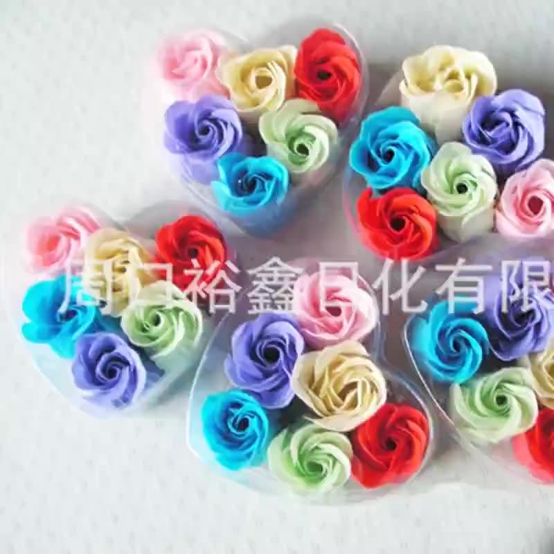 Clean neutral color paper soap bath set Rose Soap flower colorful bubble soap flower OEM processing